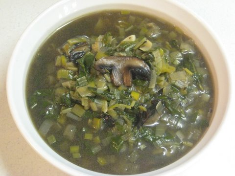 Mushroom Leek and Swiss Chard Soup