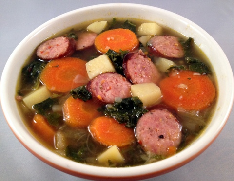 Potato and Kale Soup with Smoked Sausage | Flavor-Junkie.com